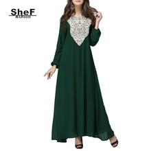Women Plus Size Long Sleeve Chiffon Fall Indian Embroidery Maxi Dress