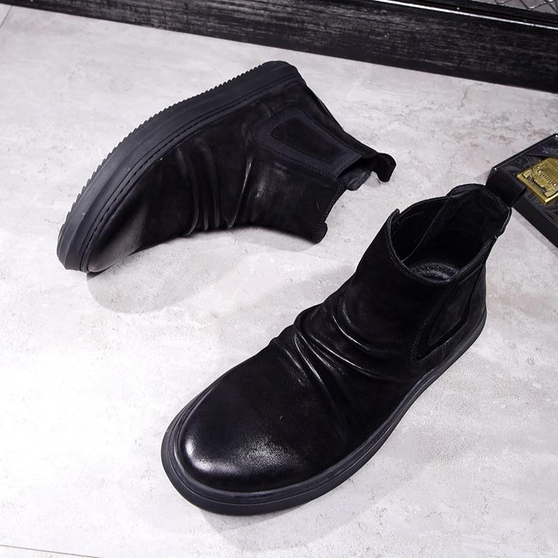 Zurriago Retro Los Hombres Negro Martin Invierno Otoño Británico Botas Cuero fósforo Transpirable Todo E De Nuevo Zapatos Del qv47xBwC