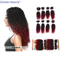 Golden Beauty 8pcs/set Jerry curly Ombre blended hair weft extensions for sew in weaving hair weft