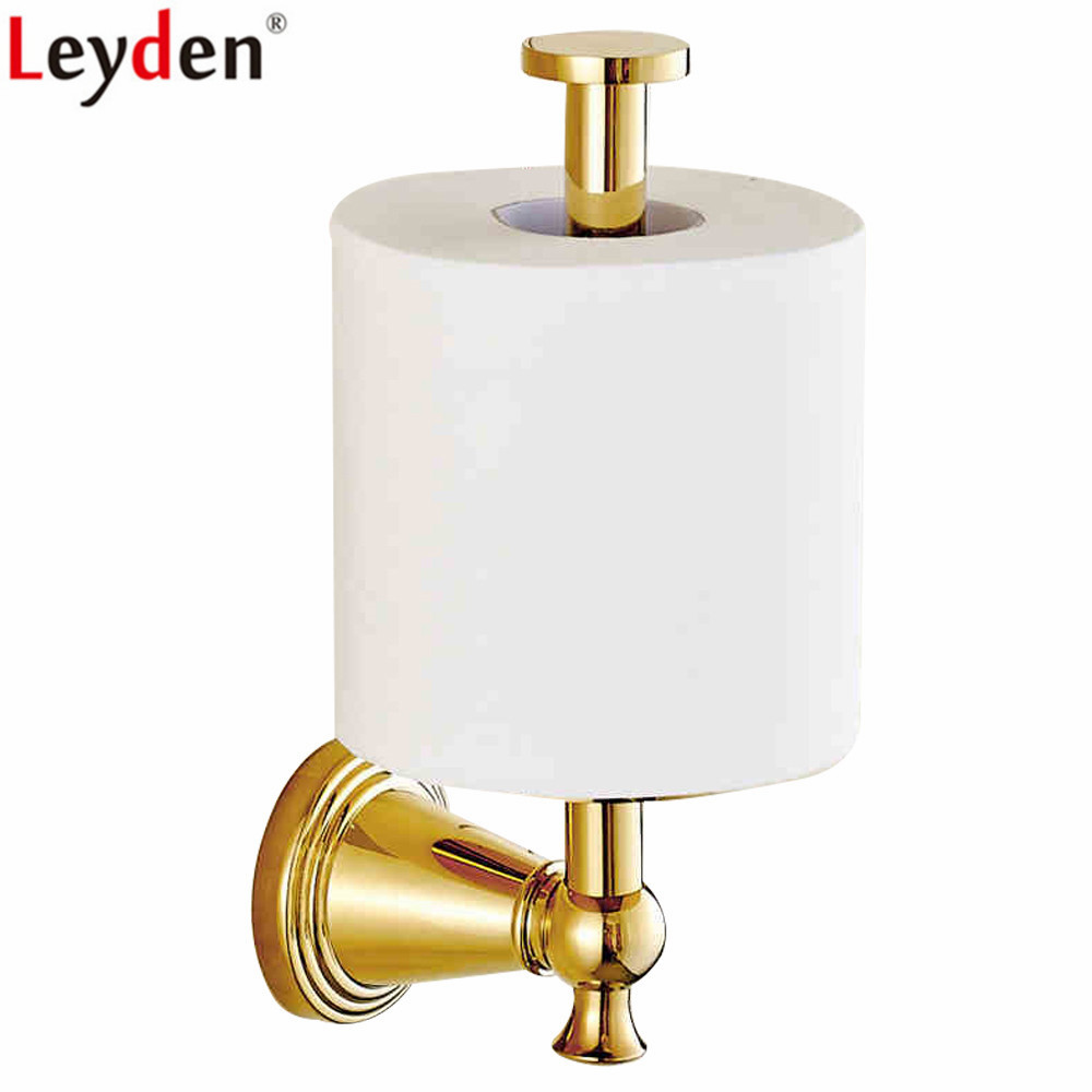 Leyden Bathroom Gold Brass Standing Toilet Paper Holder Wall Mounted Tissue Holder Roll Paper Holder Bathroom Accessories leyden copper 4 color toilet roll holder toilet paper holder with shelf wall mounted toilet paper rack bathroom accessories