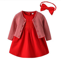 3pcs Baby Girl Dress with Cardigan & Headband Princess 1 Year Birthday Dress Red Cute Infant Baby Clothes Gift for Baby Girl