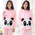 2017 Pajamas women winter coral velvet lovely panda sweet cartoon round neck flannel home long - sleeved suits