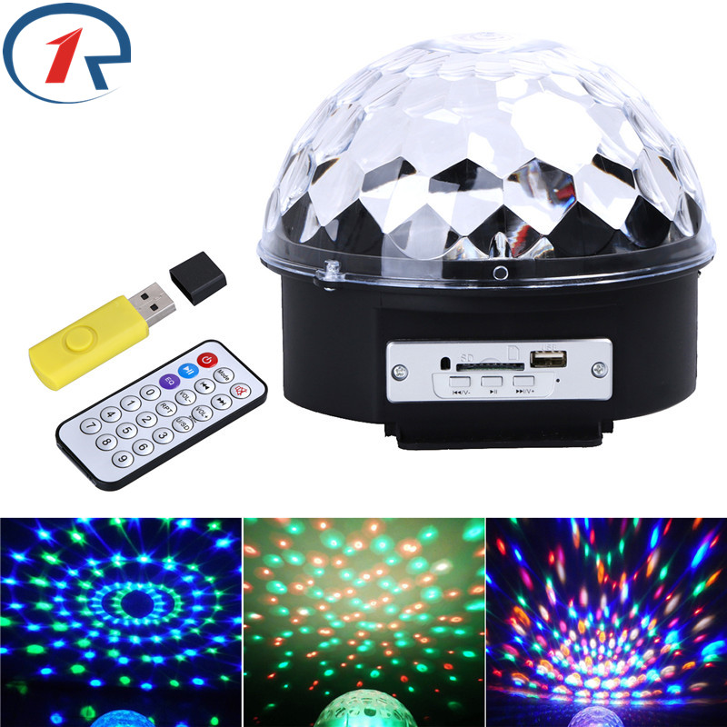 ZjRight Crystal Magic Ball RGB 6W*3 LED USB music Remote control Stage Light Disco club Party gift Strobe Lighting DJ table lamp novelty glass magic plasma ball light 3