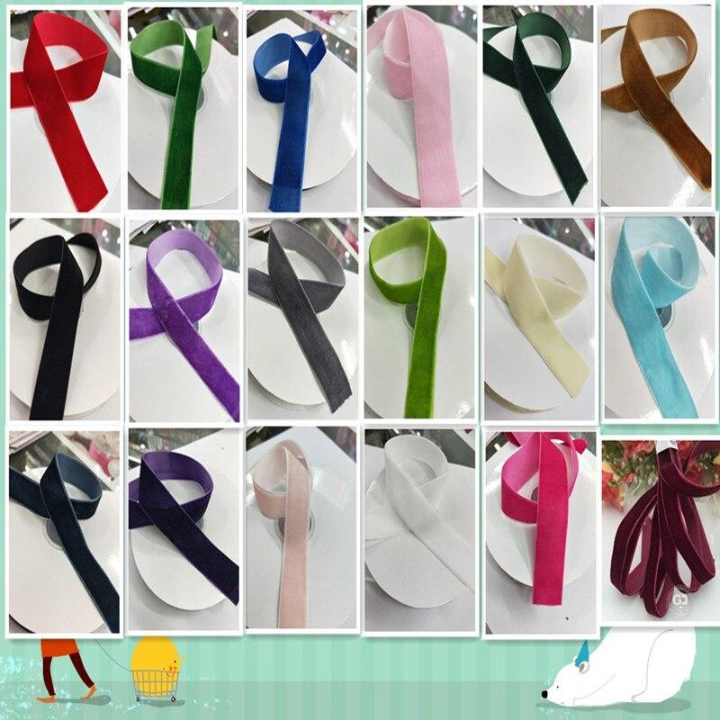 5 ярдов/партия 1 «(20 мм) широкая бархатная лента повязка на голову зажимы бант свадебные украшения выбрать цвета