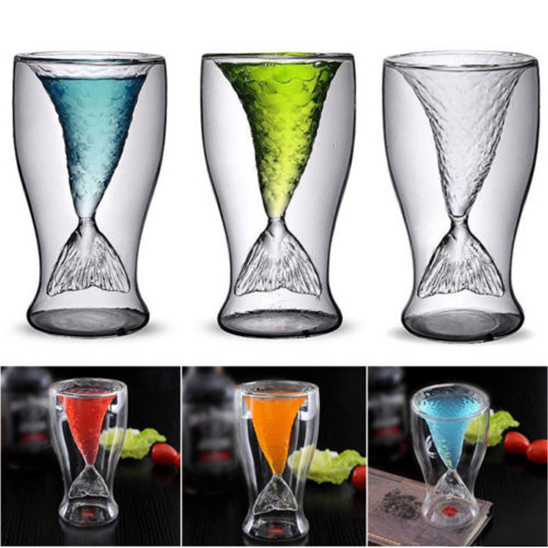 100ml Creative Crystal Mermaid Tail Cup Transparent Glass Fish Tail Practical Creative Wine Cup Heat resisting Glass Bar Cups in Wine Glasses from Home Garden