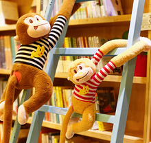 1pc 60cm striped T-shirt long arm monkey creative cute plush doll pillow stuffed toy children Valentine's Day gift