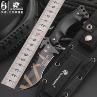 HX OUTDOORS colorfully titanium laser Color Hunting Knife camping Tactical knives Fixed Blade Knife With Sheath