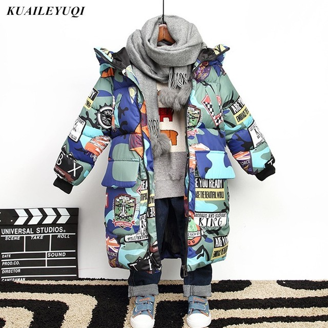 09e5f2b33cab 2018 New warm Hooded Winter Down cotton Jacket For Teenagers Boys ...
