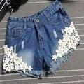2016 Floral fashion denim shorts female curling yx41