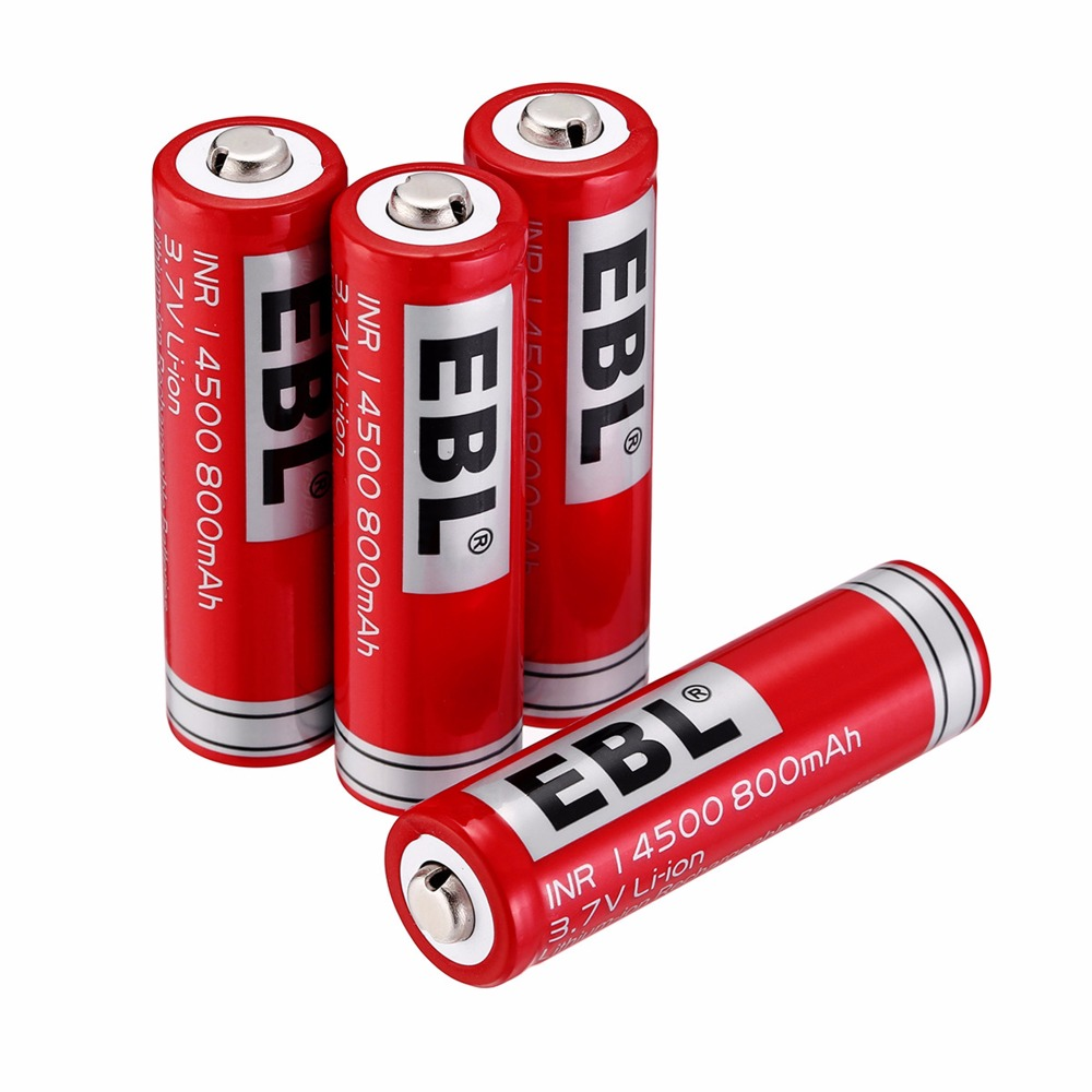 EBL 4-Pack <font><b>14500</b></font> <font><b>Battery</b></font> 3.7V 800mAh <font><b>Li</b></font>-<font><b>ion</b></font> Rechargeable <font><b>Batteries</b></font> For LED Flashlight Torch image
