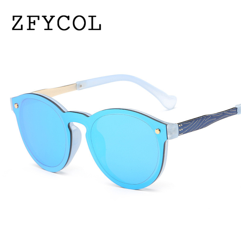 ZFYCOL 2017 New Fashion Rimless Vintage Round Mirror font b Sunglasses b font Women Luxury Brand