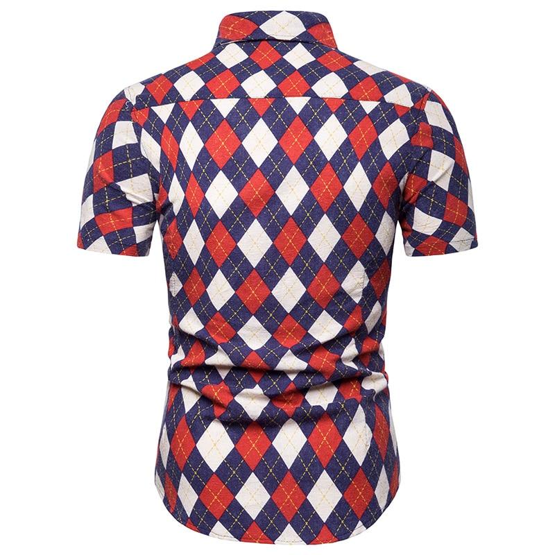 New model Shirts Plaid Fashion Linen Cotton Hawaiian Beach style Casual Blouse Man Summer Social Shirt Short sleeve in Casual Shirts from Men 39 s Clothing