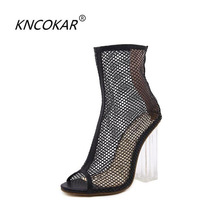 KNCOKAR 2018 The new crystal and sexy fashionable fish mouth is transparent thick and high heel mesh female cool boots