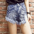 Fashion Tassel Cotton Women Summer Short Jeans Sexy Frayed Short Pants Stud High Waist Demin Shorts Hot Shorts