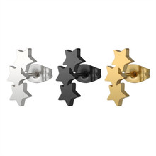 Stainless steel pentagram retro earring contracted Fashion personality delicate ears Women earrings wholesale pair of delicate pentagram earrings for men