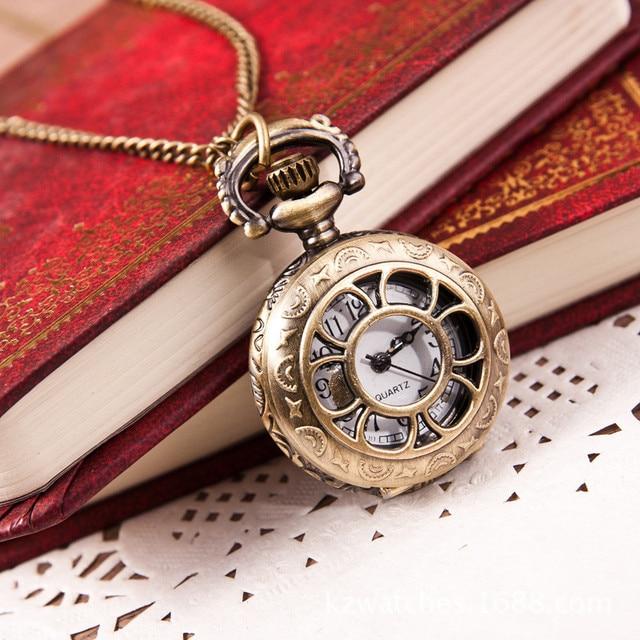 pocket watch chain necklace women's watches Fashion Vintage Retro Bronze Quartz