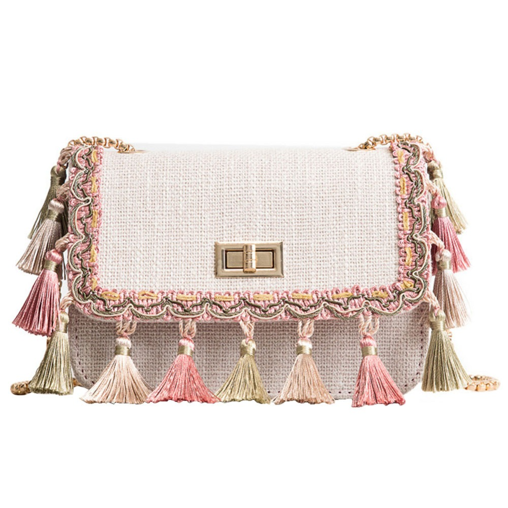 Women Elegant Tassel Cloth Messenger Bag Flap Chain Strap Small Square Shoulder Ladies Crossbody Bags Fashion Portable Girls Bag
