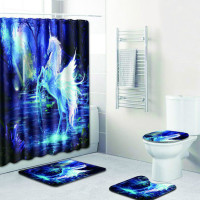 Four piece Unicorn 4pcs Set Girl Bathroom Shower Curtain and Toilet Seat Covers and Carpet in Bath Mats and Foot Pads for Gift