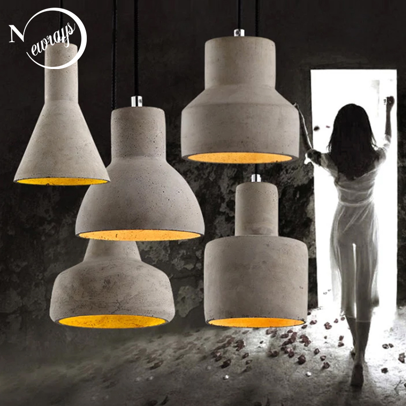 Art deco industrial cement hanging lamp E27 LED retro pendant light with 5 styles for restaurant living room bedroom hotelArt deco industrial cement hanging lamp E27 LED retro pendant light with 5 styles for restaurant living room bedroom hotel