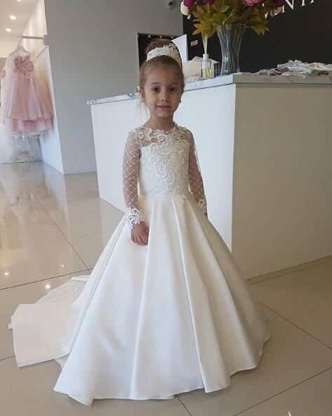 Ivory A-line satin long sleeves little kids first communion gown lace appliqued flower girl dress for wedding party with train