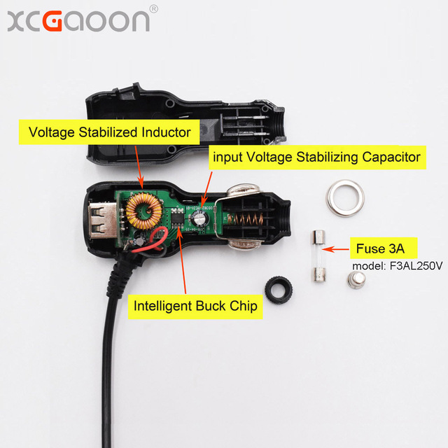 XCGaoon 3.5meter 5V 3.5A Curved mini USB Car Charger with 2 USB Port for Car DVR Camera GPS Video Recorder, input DC 8V-36V