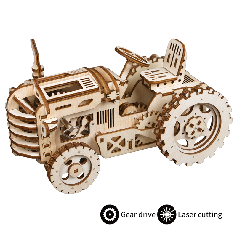 Robotime Vintage DIY Mechanical Gear Drive Tractor 3D Puzzle Wooden Educational Toy Model Building Kit Gift for Children Adult