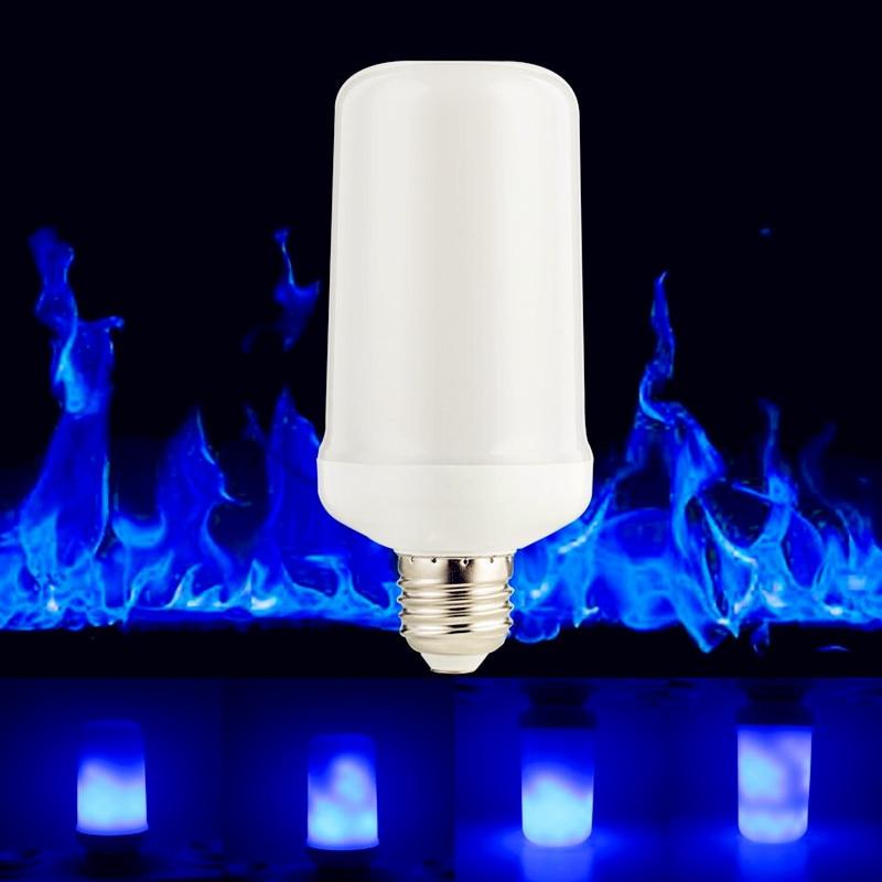 E27 E26 E14 LED Creative Flame Effect Bulb 9W Blue Color 3 modes+Gravity Sensor Fire Flickering Emulation Decoration Light