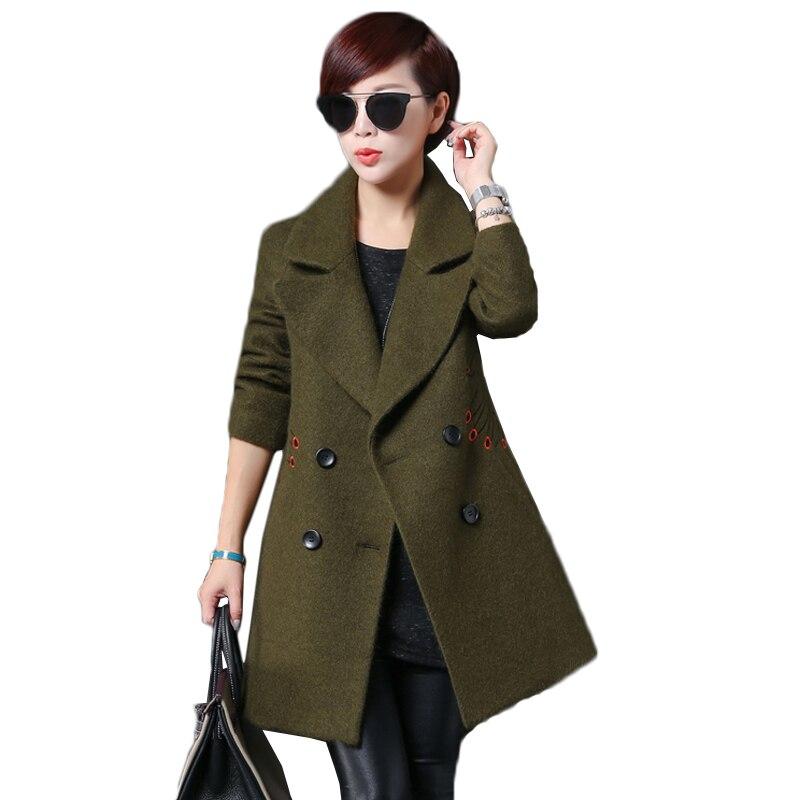 Veste Manteau Printemps De Boutonnage Femme Chaude Black Épaississent Mode Long En Laine armygreen D'hiver Femmes Automne Double Manteaux 2018 qZCqxzaw