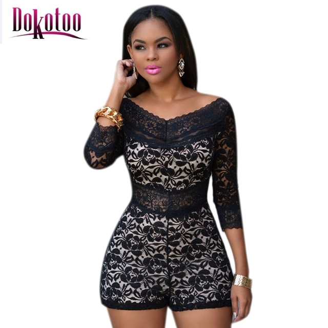 fc2c228a22e Dokotoo 2017 Sexy Black Lace Overlay Off-shoulder Romper Jumpsuit LC60411  bodysuit for women overall combinaison femme on sale