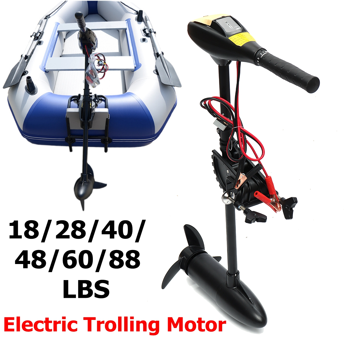 DC 12V 24V 18/28/40/48/60/88LBS Electric Trolling Motor Inflatable Boat Outboard Engine electric outboard engine fishing boat propeller with outboard engine 12v 684w1750 rotationl speed dc motor