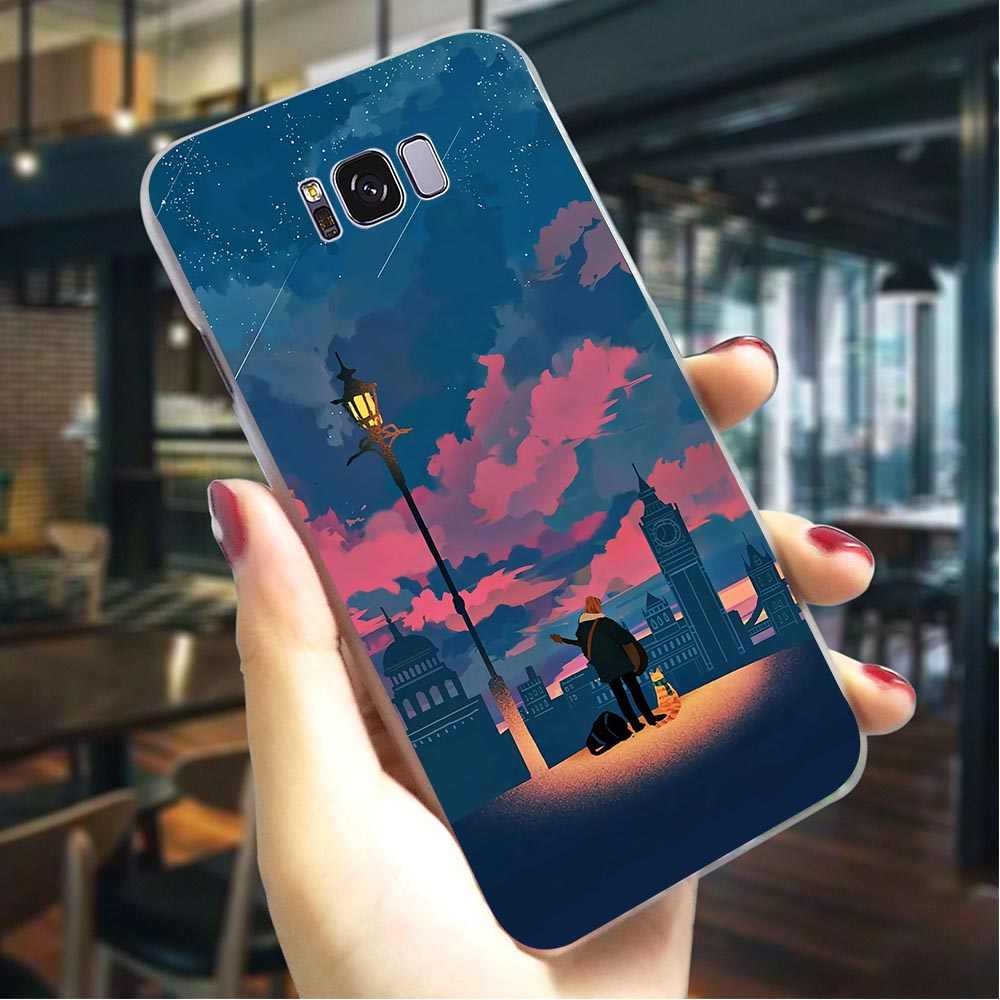 Cover for Samsung A20 Cases A30 A3 A6 Plus A5 A7 A8 A9 A10 A40 A50 A70 Sunset Girl Colorful Sky Hard Case for Galaxy A6 2018