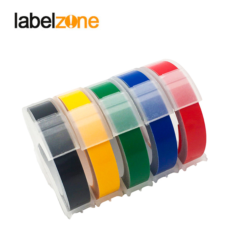 5Rolls 6 to 12mm Black Embossing Label Tape for Dymo 1610 Manual and Motex E101 Label Makers