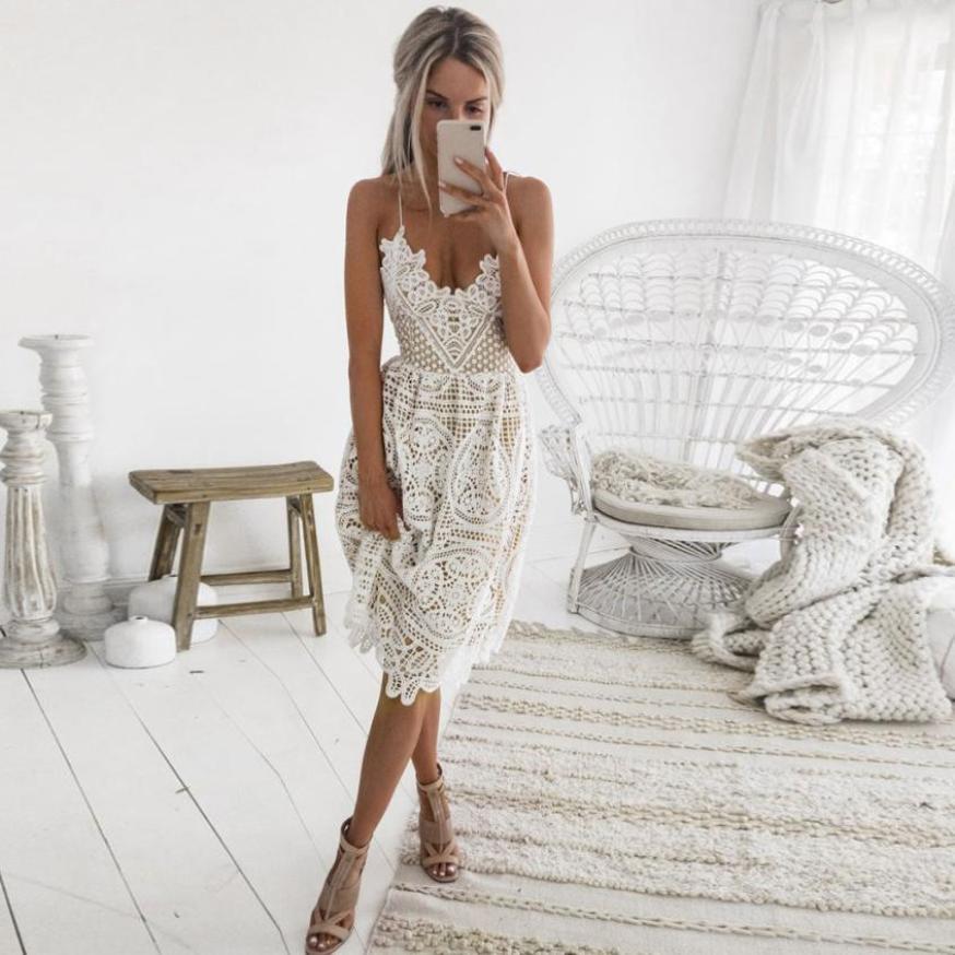 Sexy vestido de fiesta mujeres verano Deep V cuello Backless Lace vestidos moda sin mangas Halter vendaje Midi vestido # BF