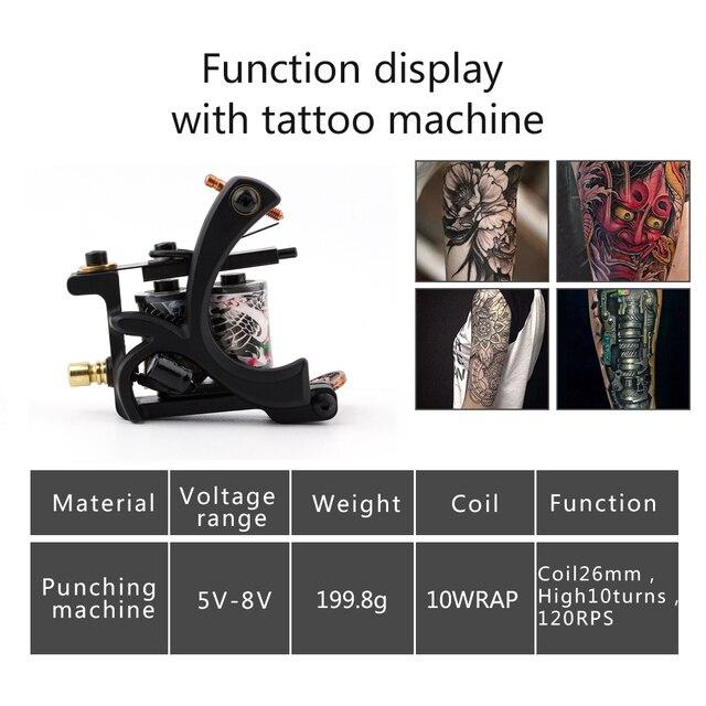 Kit de tatuaje de inicio, 8 bobinas de envoltura, máquinas de pistola de tatuaje, agarres de agujas, puntas de alimentación, suministros de tatuaje para principiantes