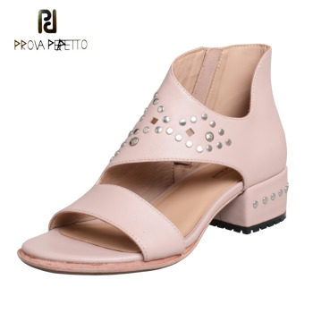 Prova Perfetto rivet stud pink genuine leather sandals women summer shoe cut out design chunky heel concise style ladies sandals