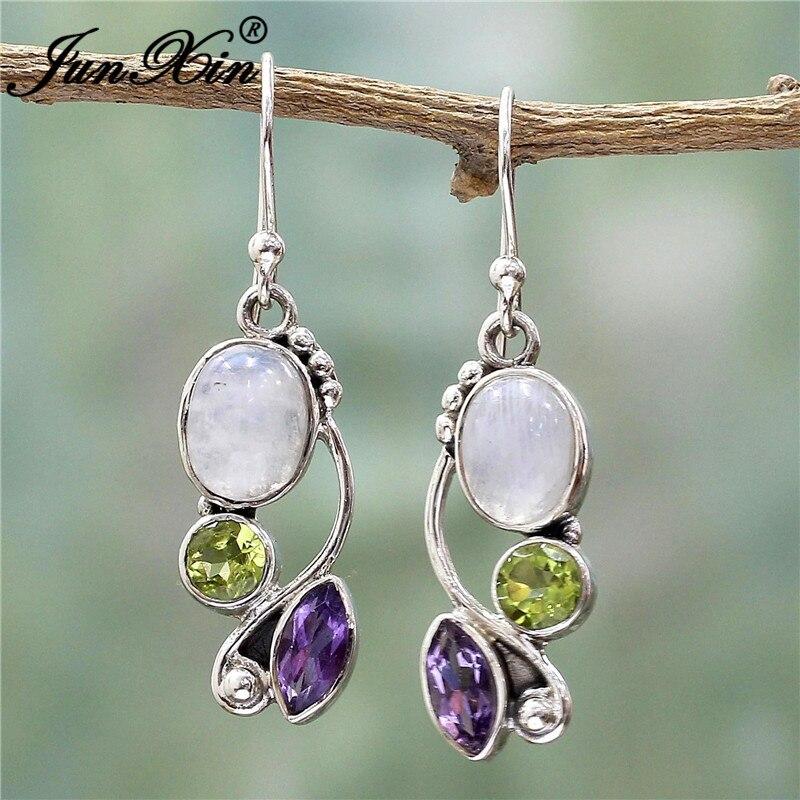 JUNXIN Antique Style Geometry Moonstone Drop Earrings For Women Boho Round Red Blue Opal Earrings Female Zircon Wedding Jewelry