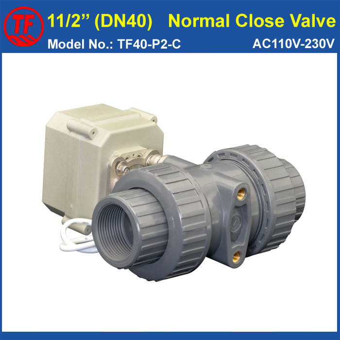 где купить DN40 PVC 1-1/2'' Normal Close Valve TF40-P2-C AC110V-230V 2 Wires BSP or NPT Thread 10NM On/Off 15 Sec Metal Gear CE IP67 по лучшей цене