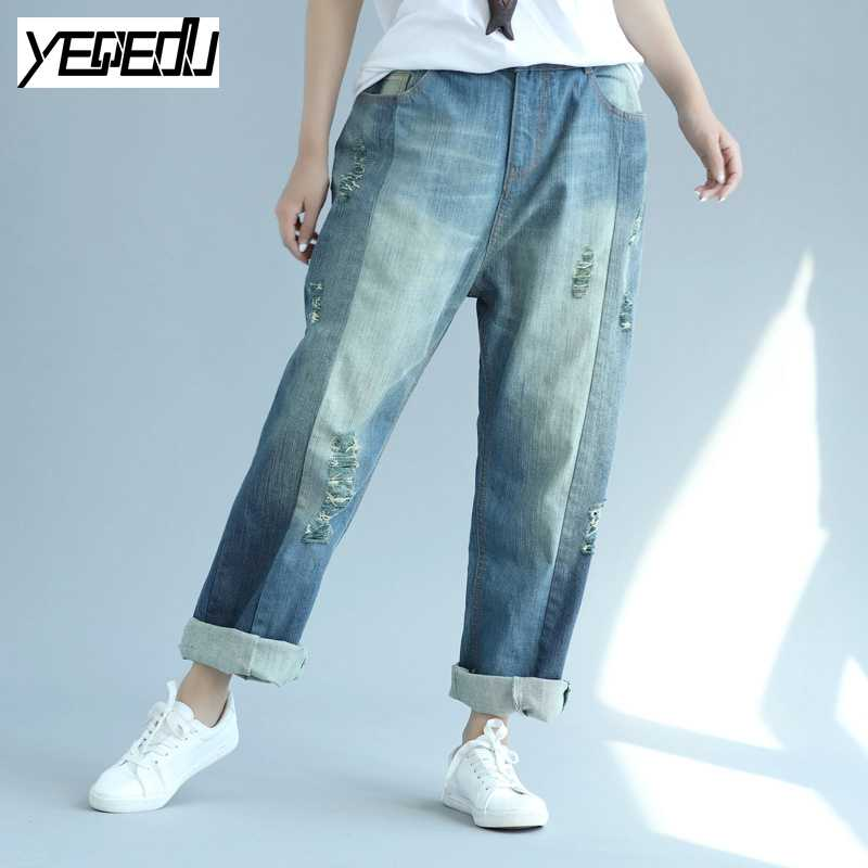 #0414 2017 Vintage wide leg jeans Boyfriend Fashion Large size Ladies ripped jeans for women Cuffs Loose harem jeans Distressed hot new large size jeans fashion loose jeans hip hop casual jeans wide leg jeans