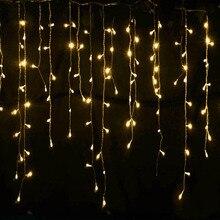Рождество Открытый Украшения Крытый 5 м Свисать 0.4-0.6 м Занавес Сосулька Светодиодные Строки Огни Новый Год Garden Party ЕС 220 В