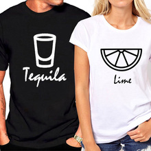 Tequila Lime Printed Couple T Shirt for Lovers Short Sleeve Fashion Summer Tops Hipster Women Tshirt Streetwear Clothes