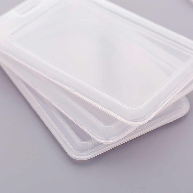 Eenvoudige Transparante Plastic Kaarthouder Sleutelhanger Mouw Set Bankkaart Id-kaart Bus kaarthouder Case Tas Cover