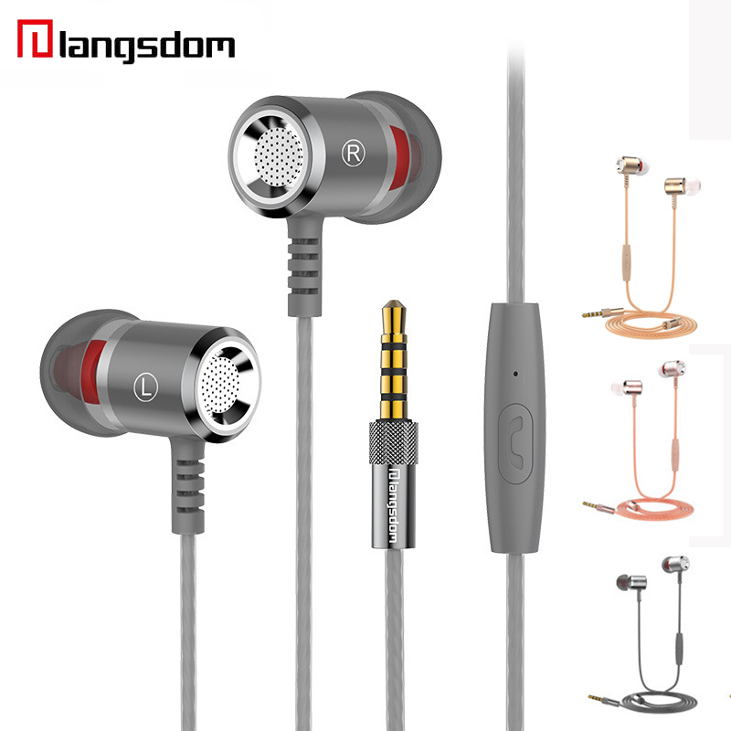Langsdom M400 Earphone Super Bass In-ear Earbuds Stereo Hifi Universal Wired Earphones With Mic For iPhone Huawei Honor V8 glaupsus gj01 in ear 3 5mm super bass microphone earphones earplug stereo metal hifi in ear earbuds for iphone mobile phone