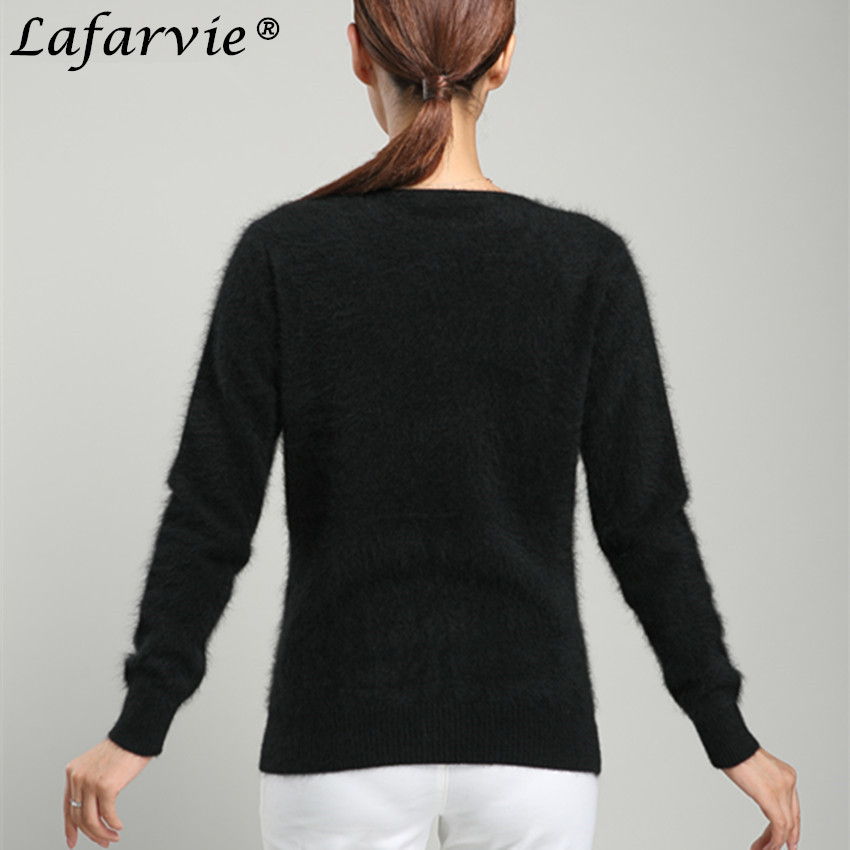 Lafarvie Fashion Mink Cashmere Blended Knitted Sweater Women Tops Autumn Winter V neck Full Sleeve Warm Pullover Female Jumper in Pullovers from Women 39 s Clothing