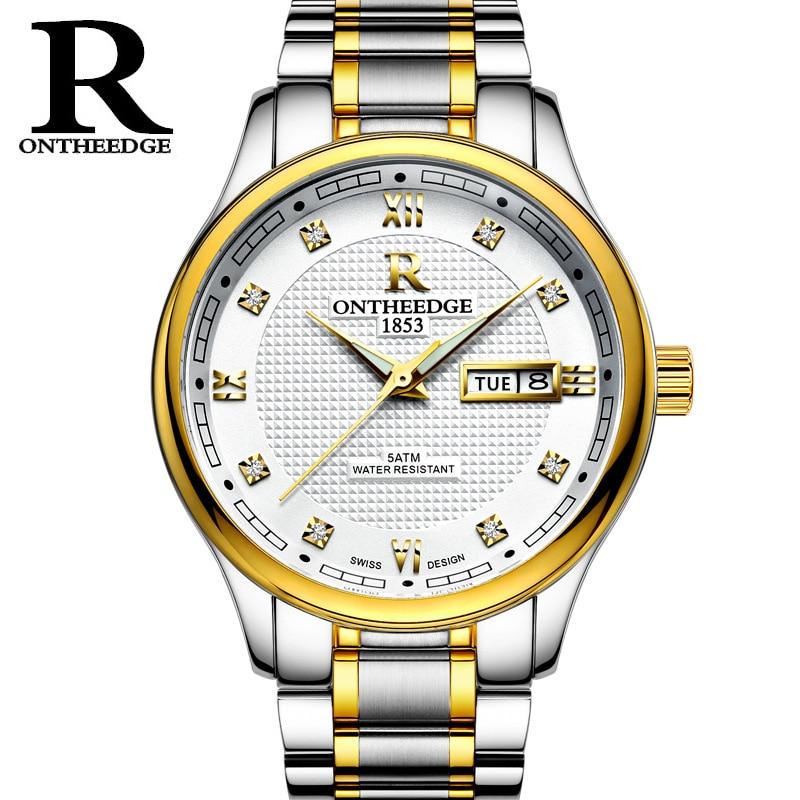 ONTHEEDGE Top Luxury Men Watch Sport Waterproof Men Business Wristwatch Stainless Steel Clasp Males Classical Quartz Clock Gift