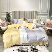 Super soft tencel Bedding Sets Bed Sheet Queen King size 4pcs Duvet Cover Sets bed sheet pillowcase Colour collision bedlinen