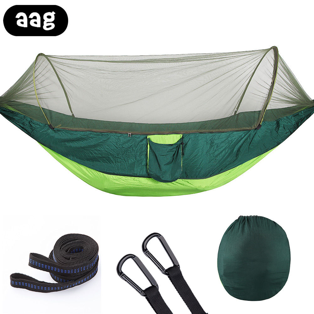 foldable single Double Hammock Adult Outdoor Backpacking Travel Sleeping Bed Parachute Fabric Mosquito Net Tent Hammock