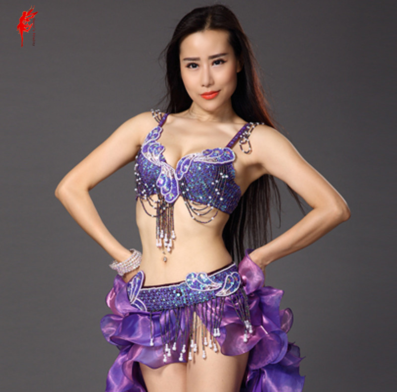 2017 New Belly Dance Bra And Belt Suit Hand Made Bra+tassel Beads Belt 2pcs Belly Dance Set Women Performance Clothes Set SML