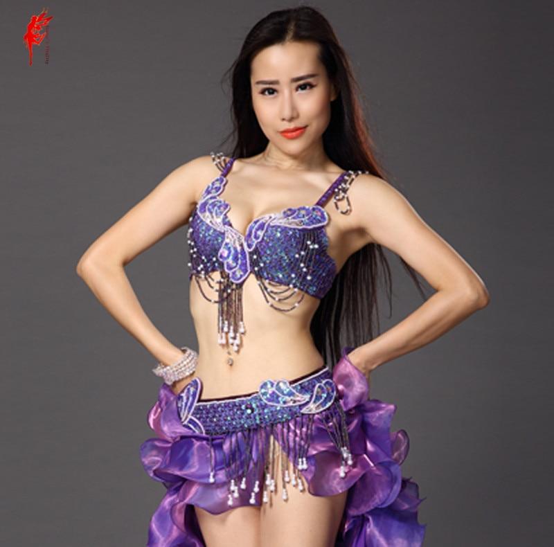 2017 New Belly Dance Bra And Belt Suit Hand Made Bra+tassel Beads Belt 2pcs Belly Dance Set Women Performance Clothes Set SML