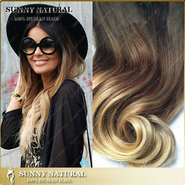 Ombre Clip In Hair Extensions Human Hair 3tone 1b4613 Brazilian