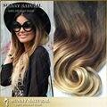 Ombre Clip en extensiones de cabello cabello humano 3 tone 1b / 4 / 613 brasileña Clip en la extensión del pelo 7 unids/set